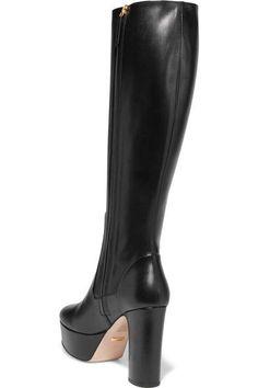 Gucci - Leather Platform Knee Boots - Black - IT