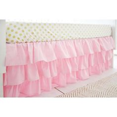 Pink 17 3 Tiered Ruffled Crib Skirt for by ThreeWishesBeddingCo Ruffle Bed Skirts, Crib Skirts, Ruffle Bedding, Pink Bedding, Baby Girl Crib Bedding, Pink Crib, Girl Nursery, Nursery Crib, Pink Bed Sheets