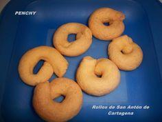 Rollos de San Antón Cartageneros Churros, Bagel, Doughnut, Bread, Desserts, Food, Yema, Spain, San Antonio