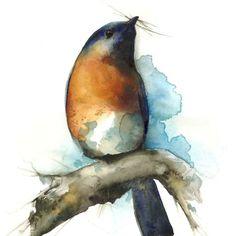 "bird art- bluebird art -""Sky""- Bluebird watercolor archival print of bluebird painting. $20.00, via Etsy."