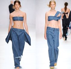 Marques' Almeida 2014 Spring Summer Womens Runway Collection - London Fashion Week - Marta Marques and Paulo Almeida - Frayed Denim Jeans Ha...