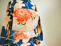 Antique kimono, Obi Sash, Japan - アンティーク着物, 帯, 日本 Kimono Yukata, Kimono Japan, Kimono Fabric, Traditional Japanese Kimono, Traditional Dresses, Japanese Style, Japanese Fabric, Japanese Outfits, Japanese Fashion