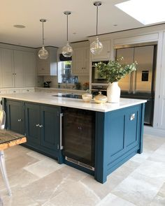 I think it's fairly safe to say that my favourite home interiors colour at the moment is blue which I honestly never would have thought to… Kitchen Diner Extension, Open Plan Kitchen Diner, Open Plan Kitchen Living Room, Barn Kitchen, Kitchen Dining Living, Home Decor Kitchen, New Kitchen, Kitchen Island, Kitchen Cabinets