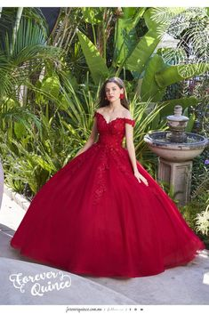 Get the beautiful Floral Off the Shoulder Quinceañera Dress by Forever Quince and other amazing Ragazza quinceanera dresses on Mi Padrino. Red Sweet 16 Dresses, Burgundy Quinceanera Dresses, Ball Gowns Fantasy, Vestido Charro, Red Wedding Gowns, Ball Gown Dresses, Xv Dresses, Pretty Prom Dresses, Quince Dresses