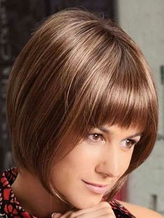 Auburn Chin Length Affordable Bob Glueless Synthetic Lace Front Wigs creates a soft natural appearance, buy it now at WIGSDO. Inverted Bob Hairstyles, Bob Hairstyles With Bangs, Bob With Bangs, Short Hairstyles For Women, Hairstyles Haircuts, Straight Bangs, Bob Bangs, Full Bangs, Blunt Bangs
