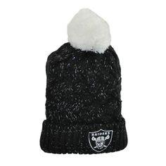 47 Brand NFL Oakland Raiders Logo Team Women Fiona Cuff Knit Beanie Pom Black #47Brand #OaklandRaiders