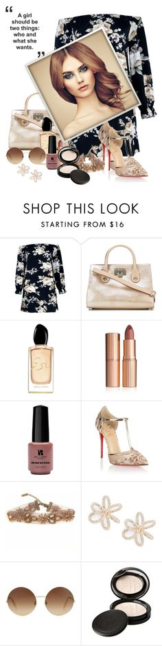 """""""Floral off-shoulder dress"""" by hubunch ❤ liked on Polyvore featuring Boohoo, Jimmy Choo, Giorgio Armani, Charlotte Tilbury, Red Carpet Manicure, Christian Louboutin, Nadri, Victoria Beckham, Beauty Is Life and FloralOffShoulderDress"""