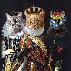 THREE pet portrait - Custom Renaissance Cat/Dog/Pet Portrait - Digital personalized portrait painting using your pets Photo