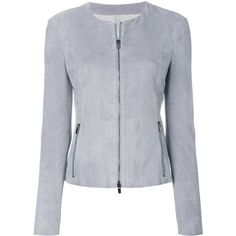 Drome Zipped Fitted Jacket (69.765 RUB) ❤ liked on Polyvore featuring outerwear, jackets, lambskin jacket, lamb leather jacket, zip jacket, drome and light blue jacket