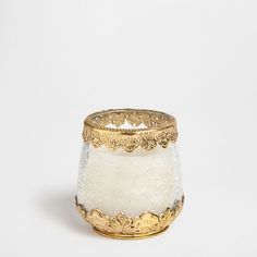 Candle with clear holder with golden detailing - Candles - Decor - Home Collection - SALE   Zara Home United States
