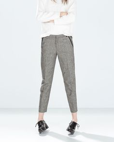 TROUSERS WITH FAUX LEATHER PIPING from Zara