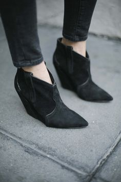Pointed-toe booties.