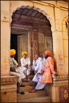 This photo from Rajasthan, West is titled 'Mid day conversation'. Jaisalmer, Udaipur, Namaste India, Brothers Movie, Ariana Grande Drawings, Respect Life, Couple Sketch, Amazing India, Indian Colours