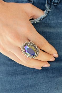 Paparazzi Accessories - Bling Of All Bling - Blue Ring Paparazzi Accessories, Paparazzi Jewelry, Blue Pearl, Blue Gem, Halo Setting, Blue Rings, Iridescent, Jewelry Box, Gemstone Rings