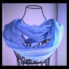 Solid Color Infinity Scarf- Blue Mettalic Solid color infinity scarf, made of Lurex fabric, color light blue Mettalic. Accessories Scarves & Wraps