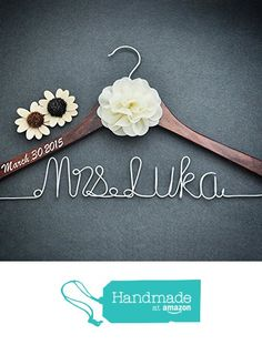 Personalized Bridal Dress Hanger Bridal Shower Gift, Custom Rustic Wedding Hanger, Bride Bridesmaid Maid of Honor Name Hanger from weddinghanger2015 https://www.amazon.com/dp/B01CZU8AXQ/ref=hnd_sw_r_pi_dp_OVryxb6Q88GQD #handmadeatamazon