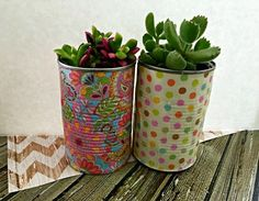 Decoupage Idea: Use Of Tin Can Planters For Home Decoration