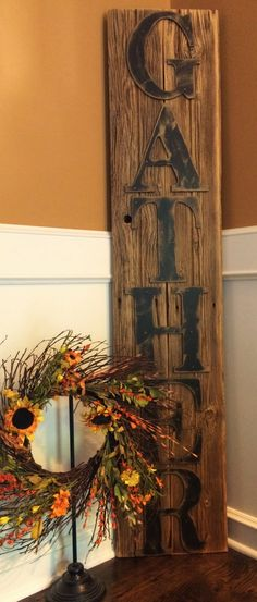 Rustic GATHER sign on reclaimed barn wood with hand painted letters, distressed and antiqued to evoke a sense of age and history.  Because we create our home decor from locally acquired barn wood, all items are unique and handmade upon order. The item pictured is a sample of the completed product. The final product will have the same design and color as pictured, but the wood will vary slightly in appearance and weight. The natural aged character of the reclaimed barn wood cannot be…