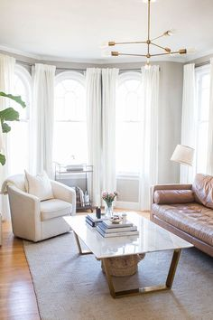 Ashley Kanes refined home tour in gray and gold Feminine minimal living space with a marble coffee table, Paint Colors For Living Room, Living Room Grey, Home And Living, Living Room Decor, Living Spaces, Living Rooms, Decor Inspiration, Living Room Inspiration, Decoration
