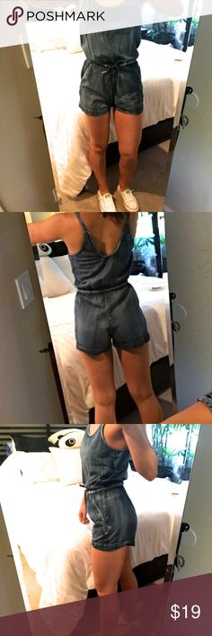 YMI Denim Romper EUC I never once wore this. It's been sitting in my closet for about 2 years but it's never been worn or washed. The tag has been cut out. It's super cute and has a drawstring (as pictured) to contour it to your waist. Makes your butt look cute. YMI Pants Jumpsuits & Rompers