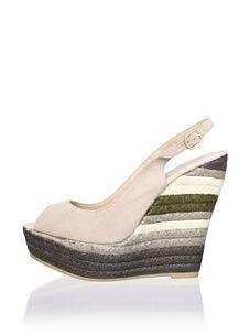 RAS Women's Layered Peep-Toe Wedge (Stone)