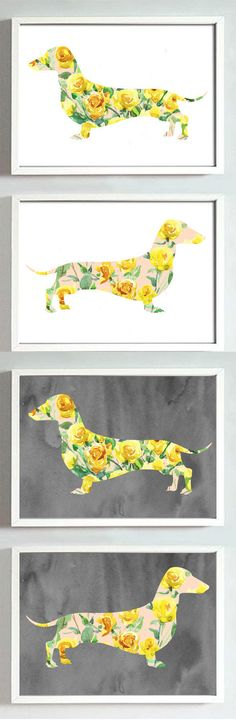 Dachshund Printable Art Doxie Watercolor Clip Art Dog Lover gift Digital Clipart Download Hand Drawn Floral Decor Flowers Wall art Rose  This is a listing for handmade with hand painted watercolor clipart of Dachshund . ----------------------------------------------------------------------------------- -Included in this pack:  ★ 4x high resolution (300 dpi) JPG file - size 8x10 inches★2-white backgrounds, 2-gray backgrounds) ★ 4x high resolution (300 dpi) JPG file - size 11x14…