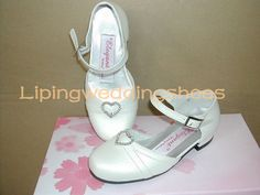 ivory satin flower girl shoes with straps round head