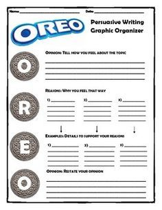 Strategy for teaching persuasive writing. OREO Method is a graphic organizer used by students to organize a persuasive writing piece. Writing Strategies, Writing Lessons, Teaching Writing, Writing Skills, Teaching History, Teaching Ideas, 6th Grade Writing, Middle School Writing, Opinion Writing