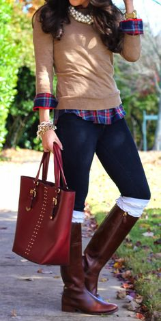 Translation: dark blue jeans + green and purple plaid shirt + beige sweater + riding boots/nude heels + layers of pearls