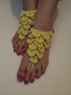 Crocodile stitch barefoot sandals.