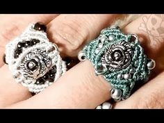 cosy rose micro macrame ring with beads and weaving - YouTube
