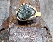 Rough green Tourmaline sterling silver ring. Size  us 6.5