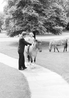 John F Kennedy With HIS Daughter Caroline AS SHE Sits Astride HER Pony Macaroni | eBay
