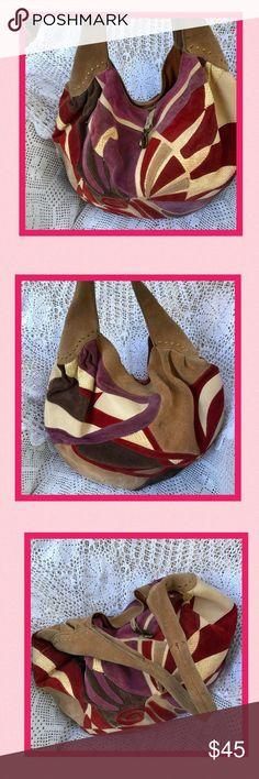 Lucky Brand Huge Patchwork Suede Bucket Hobo Bag This bag has been used and does need minor exterior cleaning. No rips tears or other flaws. Interior is in good condition as well. Price is based on the condition described. Got To Go SALE! Make offers (no low offers please-my prices are already discounted) Review all photos, item details & ask questions BEFORE ordering or making offer.  Bundle up to 3 items. Shipping discount available via Dressing Room. To receive discounted shipping bundle…