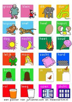 Poster. Tegenstellingen (antoniemen) Dutch Phrases, Dutch Words, Kids Learning Activities, Visual Learning, Transportation Theme Preschool, Learn Dutch, Preschool Prep, Dutch Language, Co Teaching