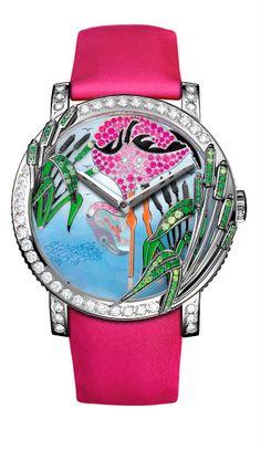 Boucheron Flamingo gemstone watch