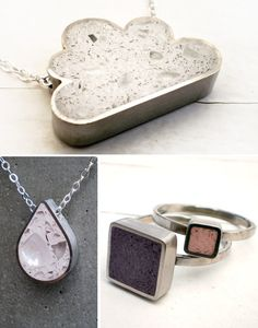 concrete jewelry--not how I'd use it, but such a cool technique to use. Must try.