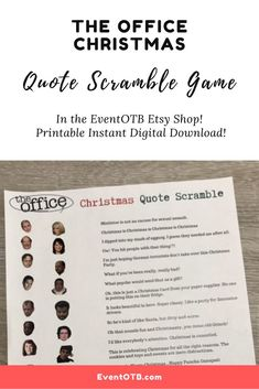 If you want to test your knowledge of The Office quote trivia, this is the Christmas Game for you! It works great for family gatherings, Zoom parties and more! Match up the character to their quote from one of the Office's Christmas episdoes. #theoffice #michaelscott #dwightschrute #officetrivia Office Christmas, Christmas Games, Christmas Quotes, Sweet 16 Parties, Holiday Parties, Office Quotes, Adult Party Games, Family Gatherings, Party Entertainment