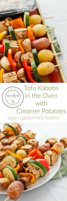 Tofu Kabobs in the Oven   http://thecookiewriter.com   @thecookiewriter   #tofu