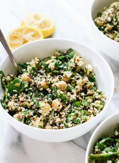 Quinoa & Chickpea Salad with Lemon-Tahini Dressing This fresh, herbed quinoa and chickpea salad makes a satisfying lunch and a great holiday side dish.This fresh, herbed quinoa and chickpea salad makes a satisfying lunch and a great holiday side dish. Quinoa Chickpea Salad, Chickpea Salad Recipes, Vegetarian Recipes, Cooking Recipes, Healthy Recipes, Vegetarian Salad, Quinoa Spinach, Healthy Vegetarian Recipes, Skinny Recipes