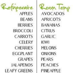 Tips on how to store fruits and vegetables so you have a fresher and tastier produce:) Read the full table at http://www.dish-away.com/2012/07/tips-how-to-store-fruits-and-vegetables.html#