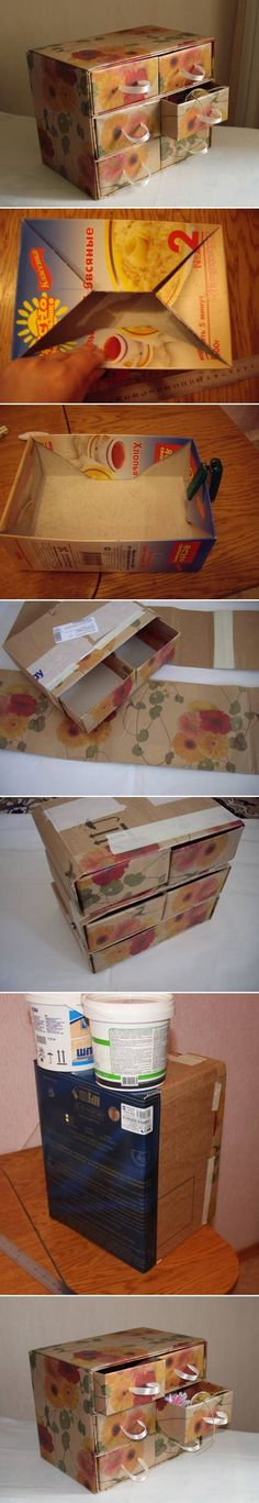 Chest made from cardboard and cereal boxes.