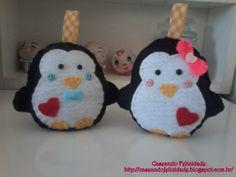 Casal de Pinguins em feltro, molde da BoniFrati.
