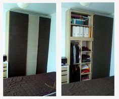 I really wanted to wake up and be able to look out my window from my bed every morning, so I created a bed with the IKEA KALLAX units. Ikea Kallax Shelving, Ikea Kallax Unit, Ikea Expedit, Ivar Regal, Kallax Regal, Ikea Hacks, Bedding Inspiration, Deco Furniture, Baby Room Decor