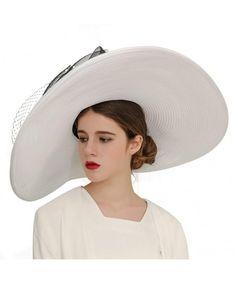 f516d6392b3 Women Hats Church Hats Exaggeration Designer Fashion Lady Wide Brim Hats -  White - CB18DAISGIZ