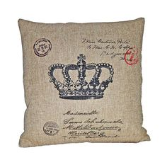 """Burlap Crowne Pillow from the Rustic & Romantic event at Joss & Main.  Crown design with carte postal look.  Features:  Zipper closure  Insert included  Dimensions: 18""""H x 18""""W  Retail $60. This Event $47."""