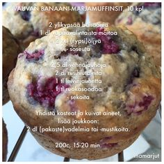 Simppeli sormiruokakeittiö: Vauvan banaani-marjamuffinsit Baby Food Recipes, Cooking Recipes, Baby Snacks, 20 Min, Yams, Healthy Baking, I Love Food, Yummy Cakes, Baby Led Weaning