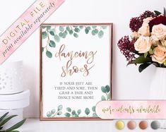 285f6f468570 Dancing Shoes Flip Flop Sign Printable Wedding Flip Flops Wedding  SignEucalyptusWatercolorGreeneryEucalyptus WreathInstant Download by  LoveLetteredByBekki ...
