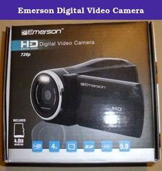 Emerson Digital Video Camera. Features: Digital Video Camera 720P 5.0 Megapixel USB Cable Audio/Video Cable HDMI mini to HDMI Cable 4GB Micro SD Card & Adapter 2 AA Batteries User Guide Storage Pouch Color Flip Display Expandable Memory Easily upload videos to YouTube Video Suite Software.