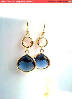 Hey, I found this really awesome Etsy listing at https://www.etsy.com/listing/247507102/navy-earrings-peach-earrings-champagne